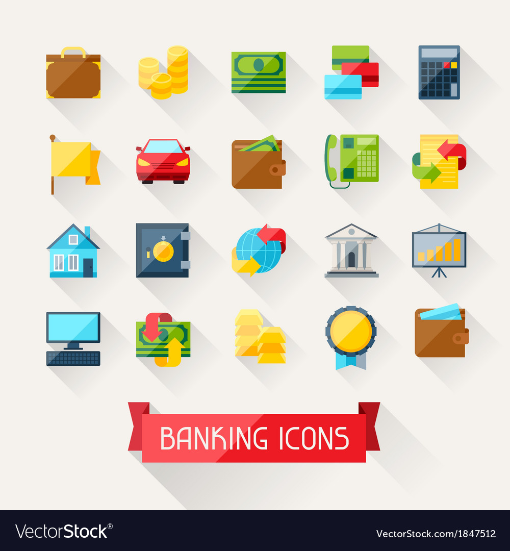 Set of banking icons in flat design style vector | Price: 1 Credit (USD $1)