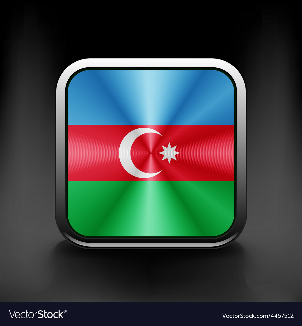 Square icon with flag of azerbaijan with vector | Price: 1 Credit (USD $1)