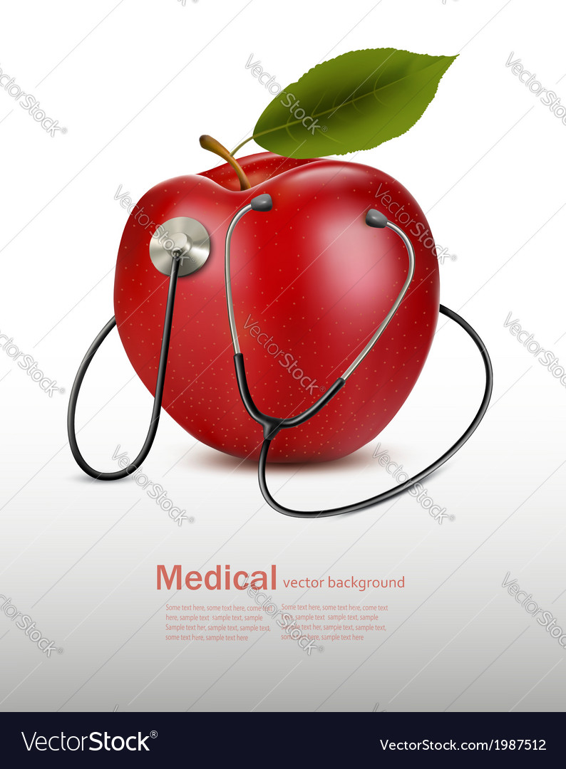 Stethoscope and red apple medical background vector | Price: 1 Credit (USD $1)