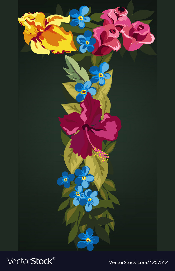 T letter flower capital alphabet colorful font vector | Price: 1 Credit (USD $1)