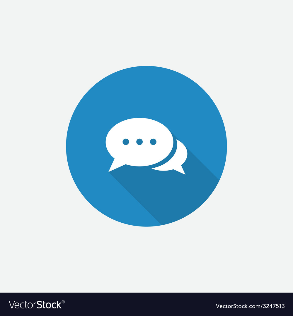Chat flat blue simple icon with long shadow vector   Price: 1 Credit (USD $1)