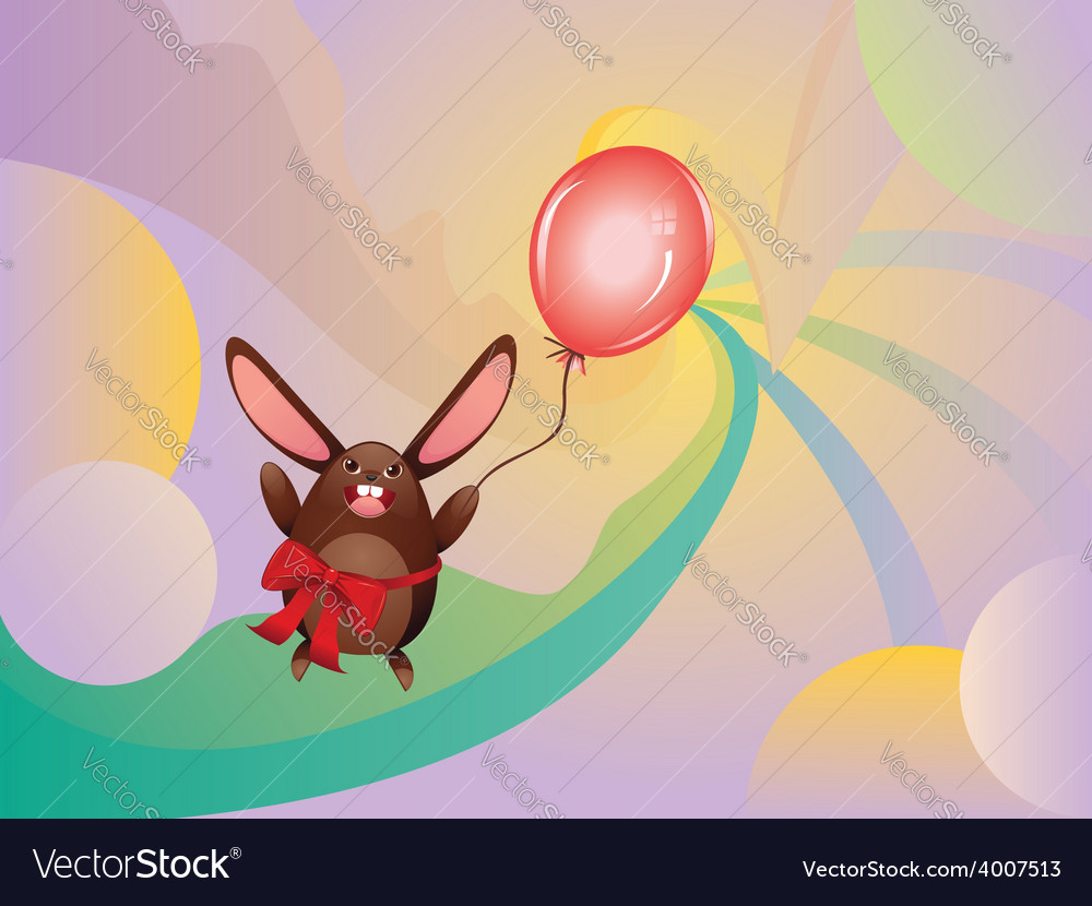 Chocolate bunny with balloon2 vector | Price: 1 Credit (USD $1)
