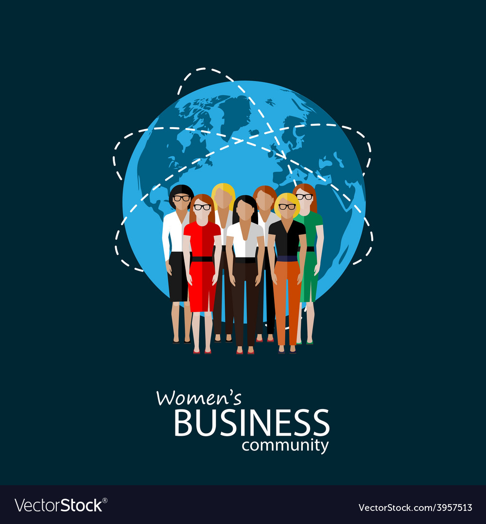 Flat of women business community vector | Price: 1 Credit (USD $1)
