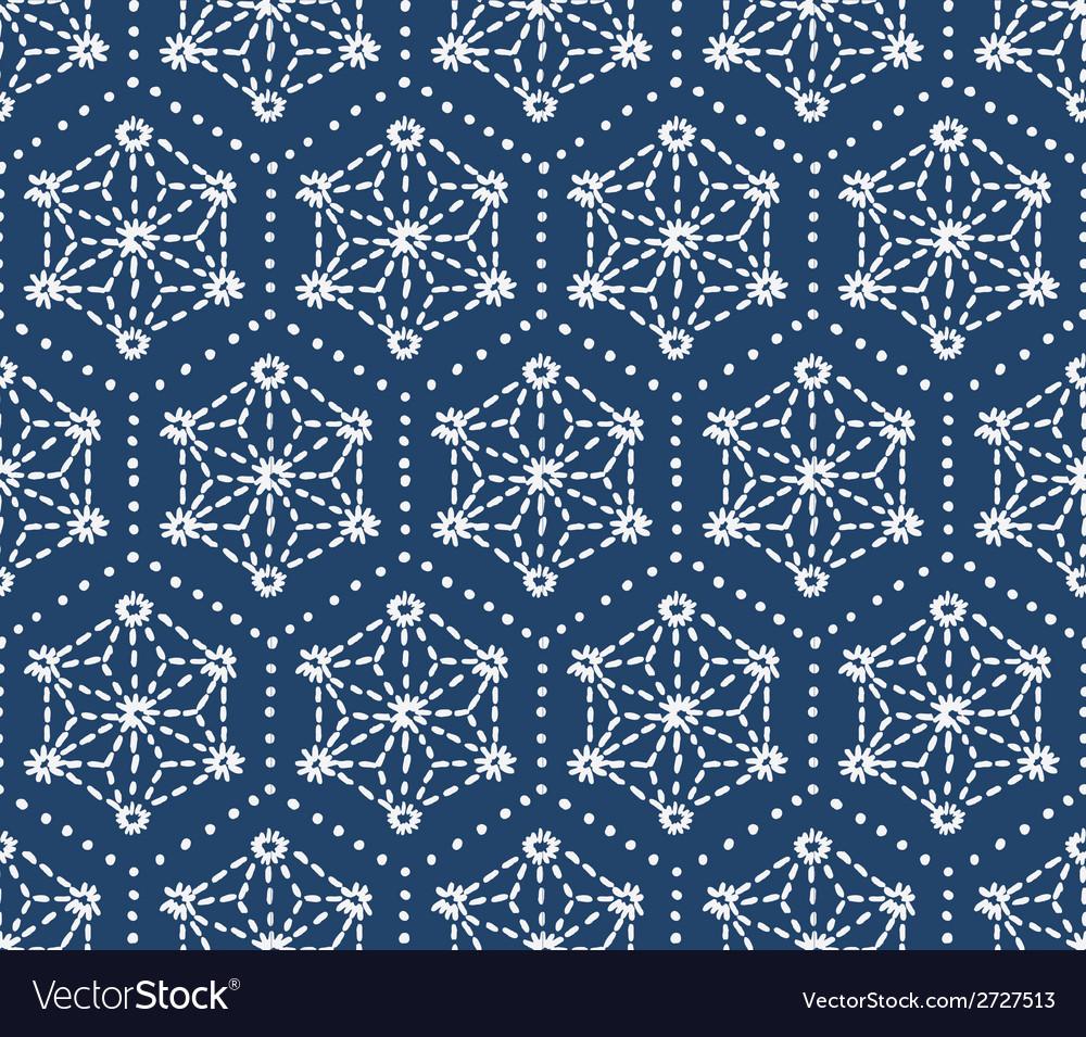 Hand drawn seamless indigo folk pattern vector | Price: 1 Credit (USD $1)