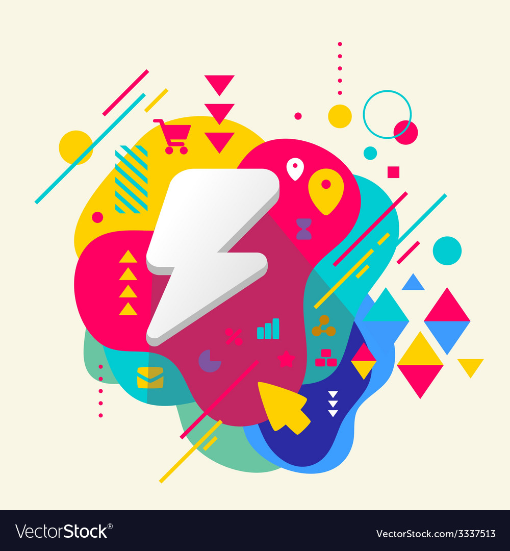 Lightning on abstract colorful spotted background vector | Price: 3 Credit (USD $3)