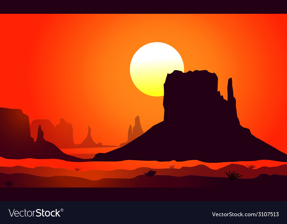 Monument valley sunset vector | Price: 1 Credit (USD $1)