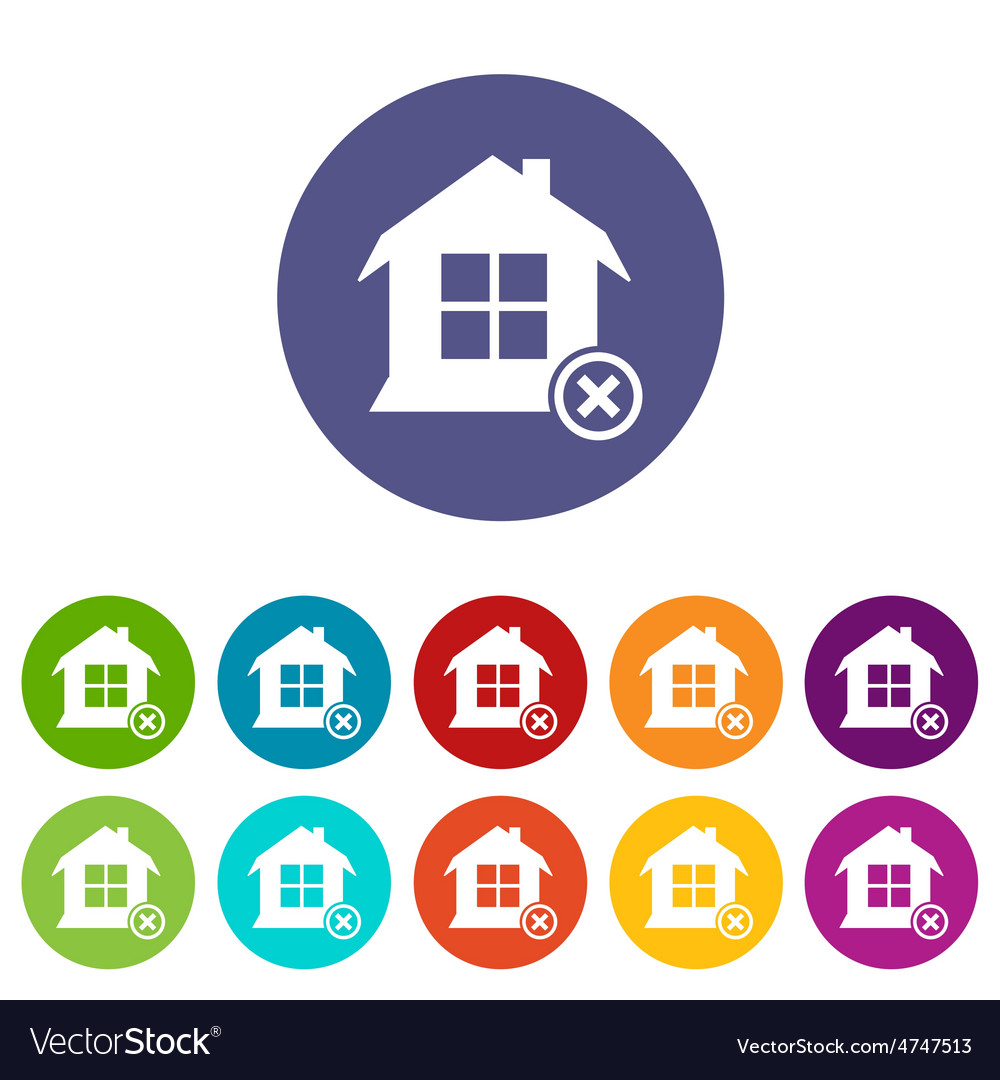 Remove house icon set vector | Price: 1 Credit (USD $1)