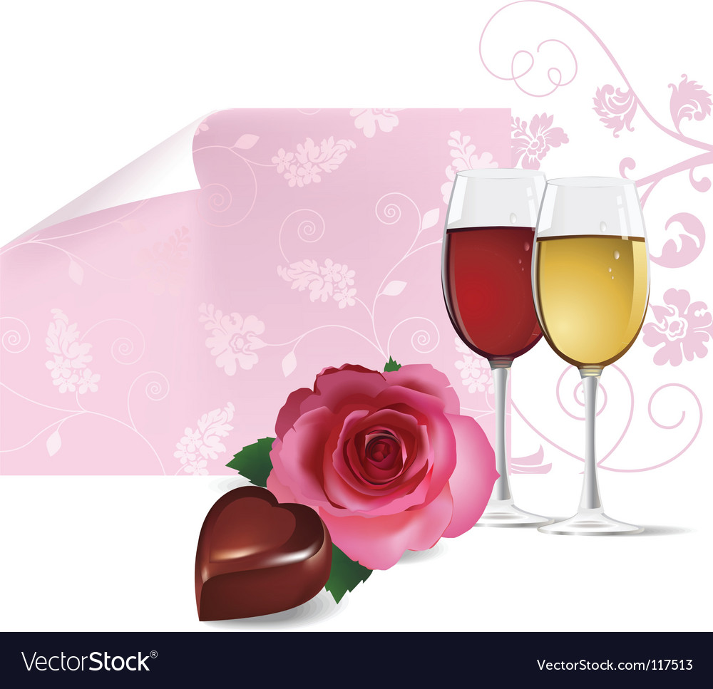 Rose wine and chocolate vector | Price: 1 Credit (USD $1)