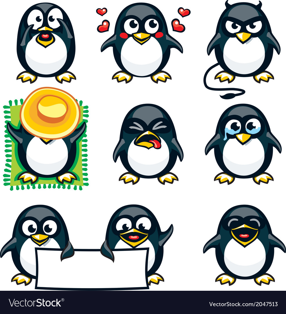 Smiley penguins vector | Price: 1 Credit (USD $1)
