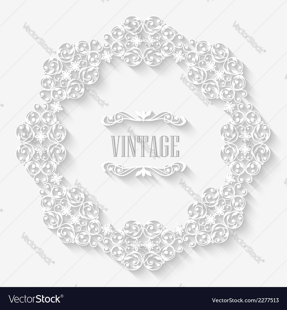 Vintage border white frame vector | Price: 1 Credit (USD $1)