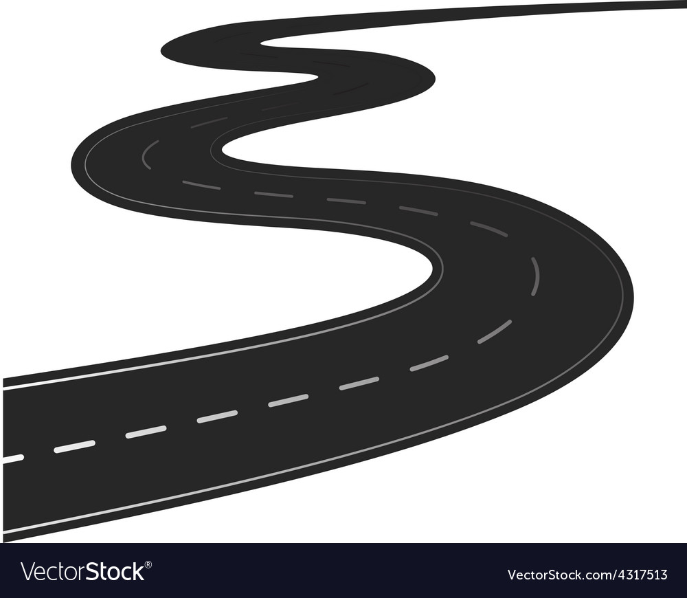 Winding road isolated vector