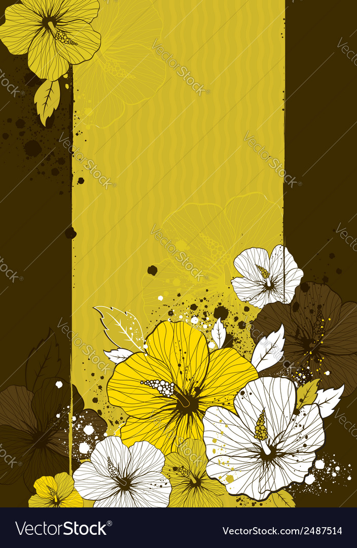 Bouquet of hibiscus on grunge background vector | Price: 1 Credit (USD $1)