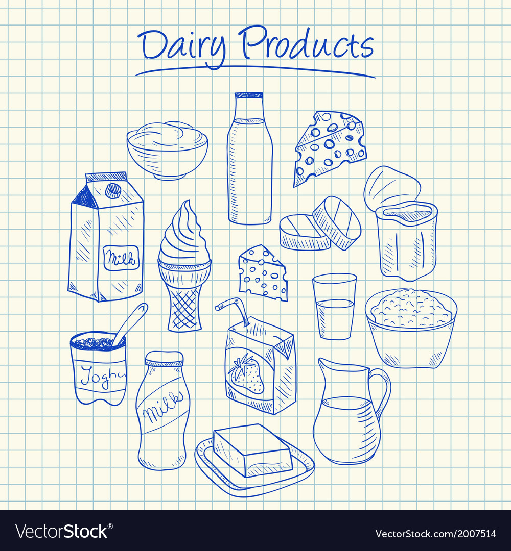 Dairy products doodles squared paper vector | Price: 1 Credit (USD $1)