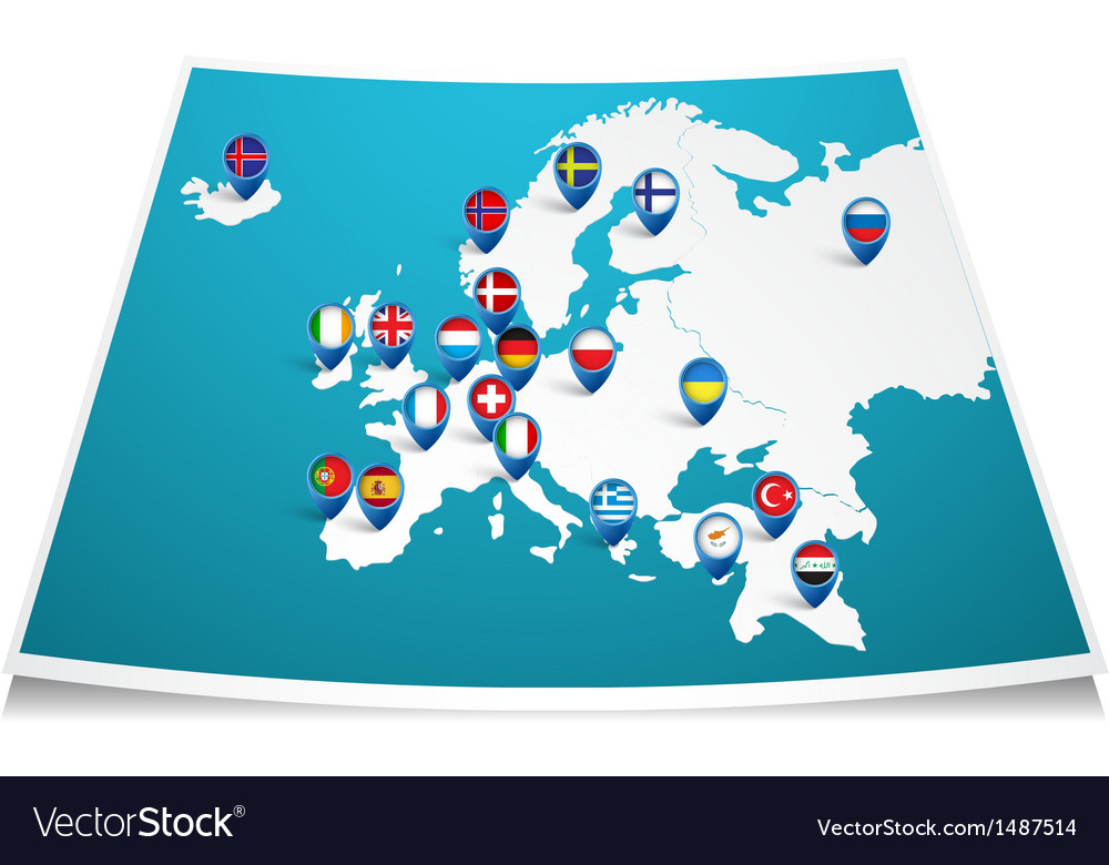 Europe map with flag pin vector | Price: 1 Credit (USD $1)