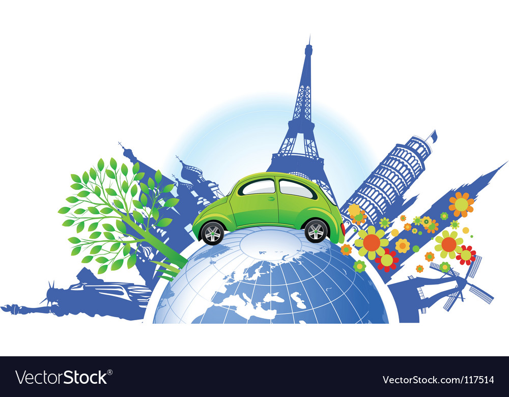 Global green car vector | Price: 1 Credit (USD $1)