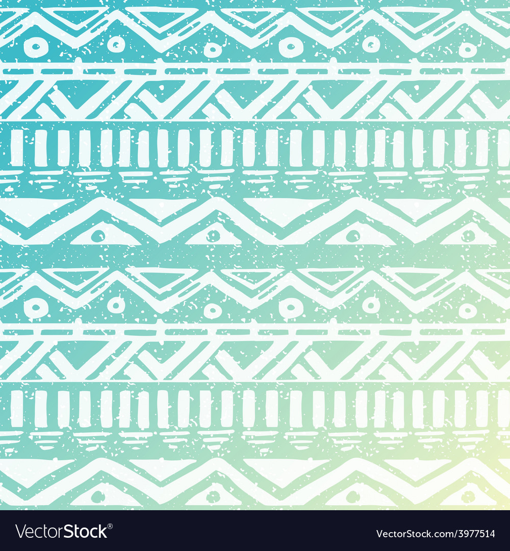 Hand drawn aztec tribal seamless background vector