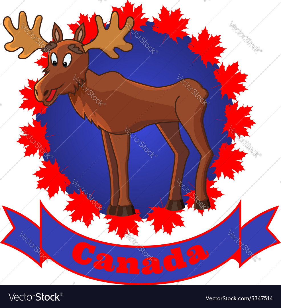 Moose and canada vector | Price: 1 Credit (USD $1)