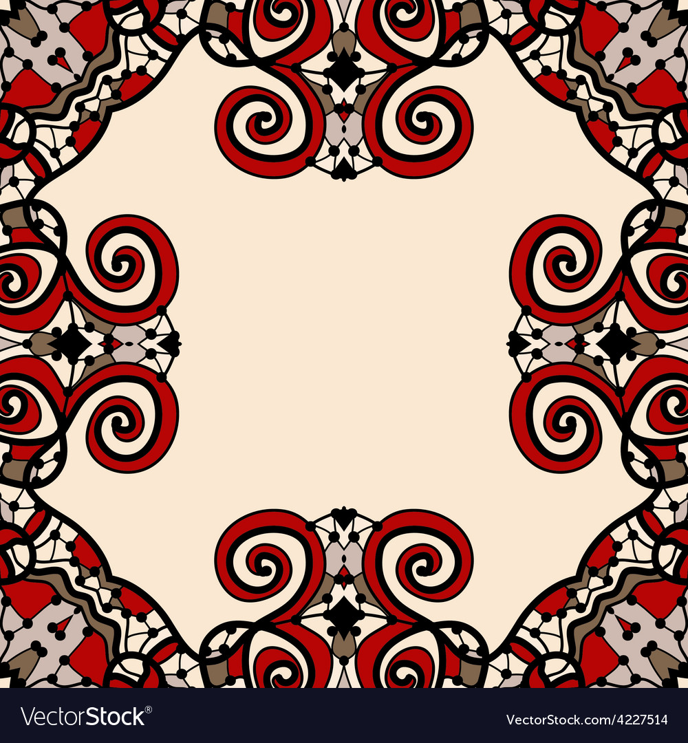 Ornate frame for text in red and light brown color vector | Price: 1 Credit (USD $1)