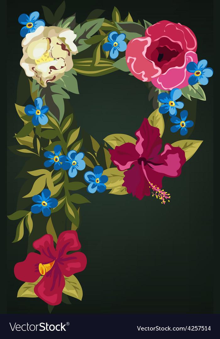P letter flower capital alphabet colorful font vector | Price: 1 Credit (USD $1)