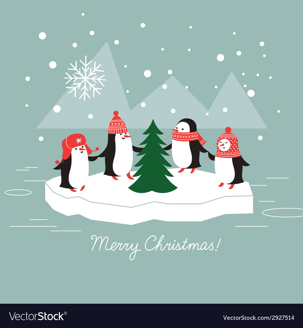 Penguins and christmas tree vector   Price: 1 Credit (USD $1)