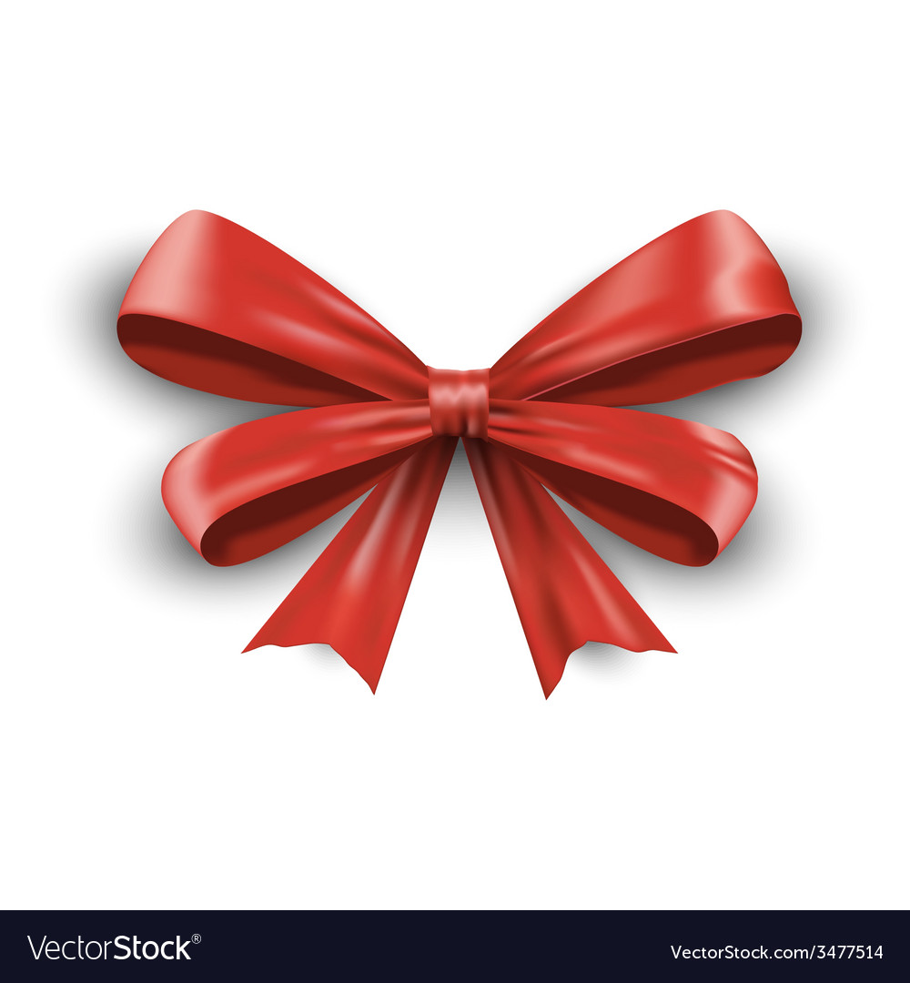 Red ribbon with bow isolated on white background vector | Price: 1 Credit (USD $1)