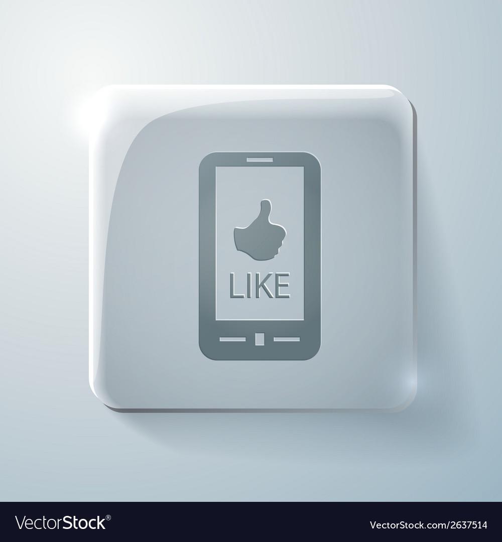 Symbol thumb up glass square icon vector | Price: 1 Credit (USD $1)