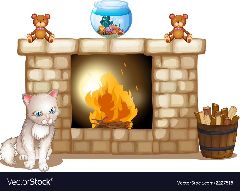 A sad cat near the fireplace vector | Price: 1 Credit (USD $1)