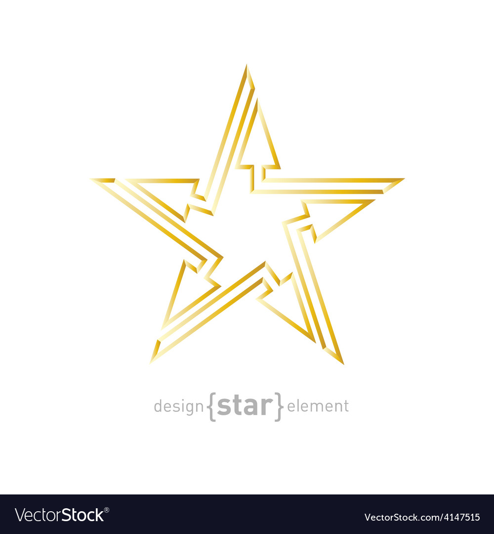 Abstract gold star with arrows design element on vector | Price: 1 Credit (USD $1)