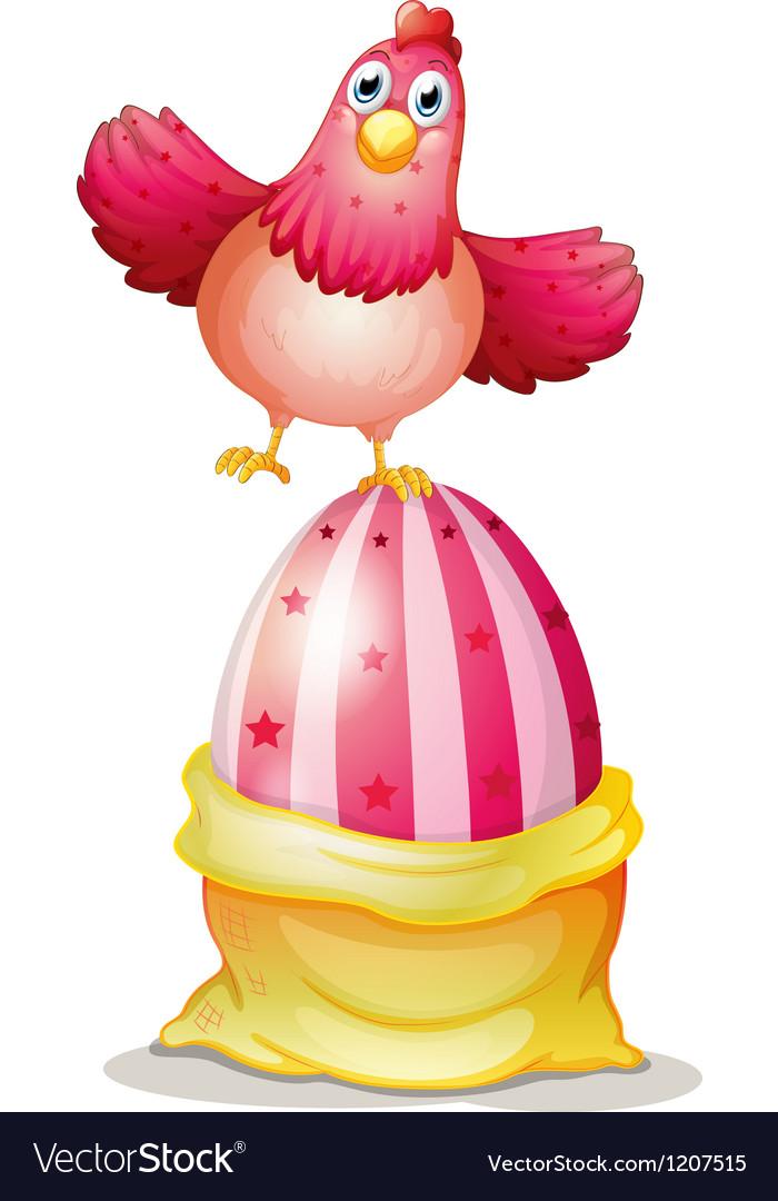 Cartoon hen on egg vector   Price: 1 Credit (USD $1)