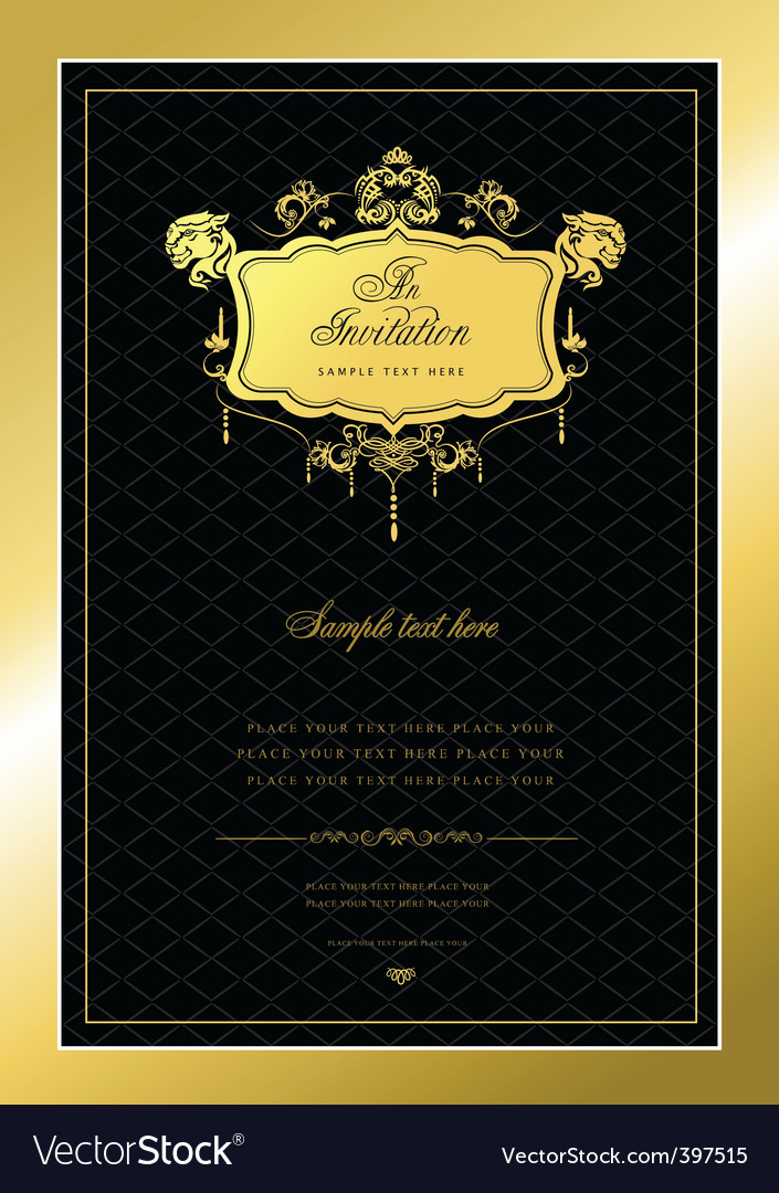 Gold invitation vector | Price: 1 Credit (USD $1)