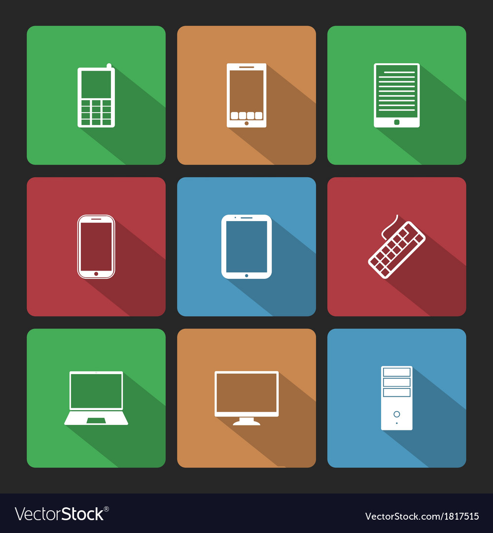 Mobile and computers icons set with long shadow vector | Price: 1 Credit (USD $1)