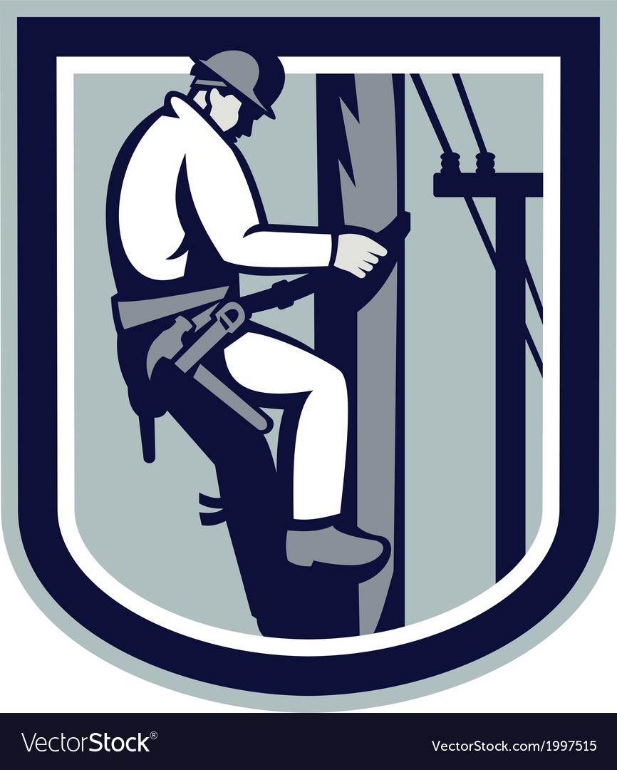 Power lineman telephone repairman electrician vector | Price: 1 Credit (USD $1)