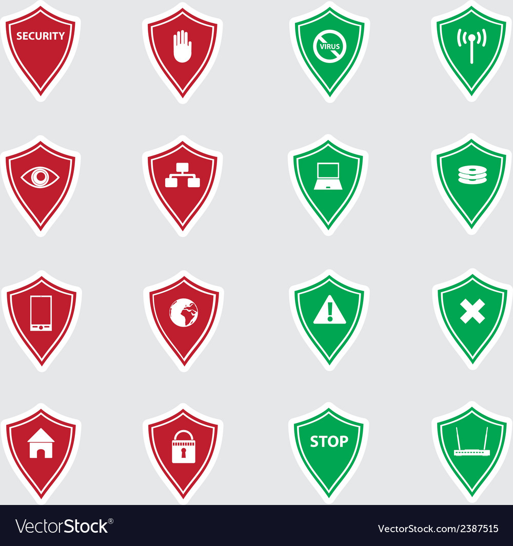 Red and green security shields stickers eps10 vector | Price: 1 Credit (USD $1)