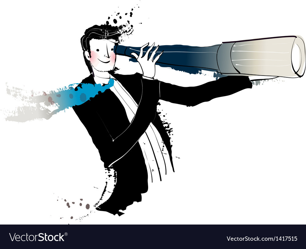 Side view of man holding telescope vector | Price: 1 Credit (USD $1)