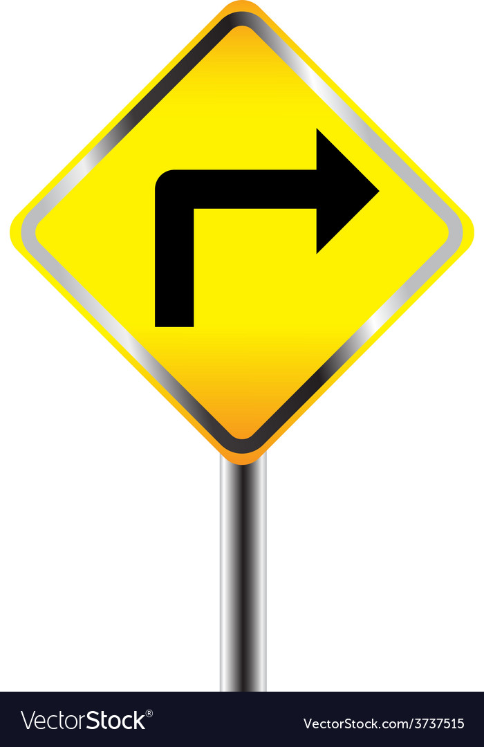 Turn right traffic sign vector | Price: 1 Credit (USD $1)