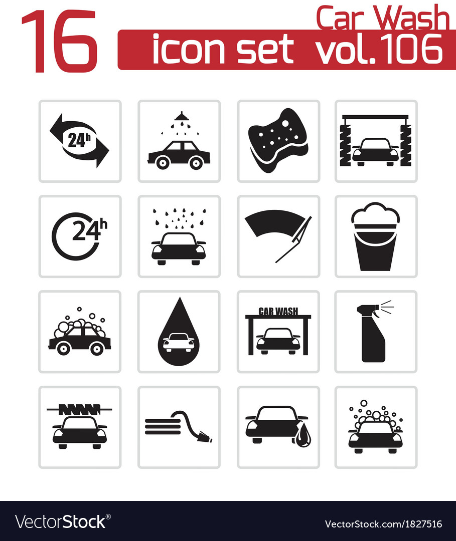 Black car wash icons set vector | Price: 1 Credit (USD $1)