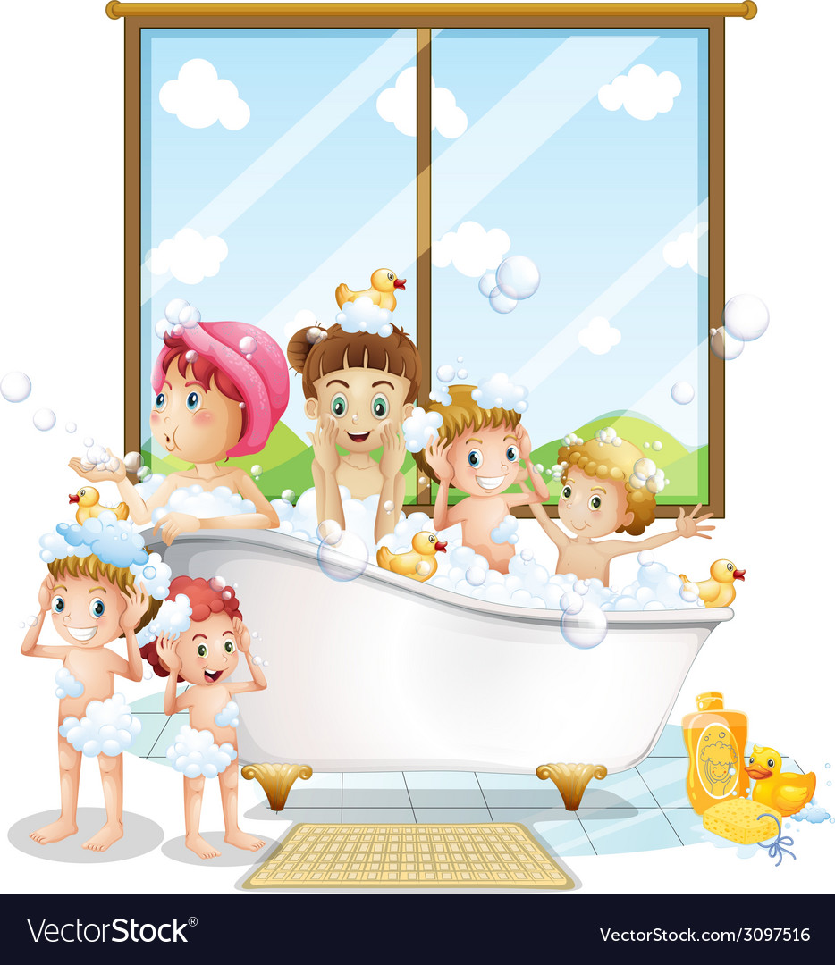 Children and bath vector | Price: 1 Credit (USD $1)
