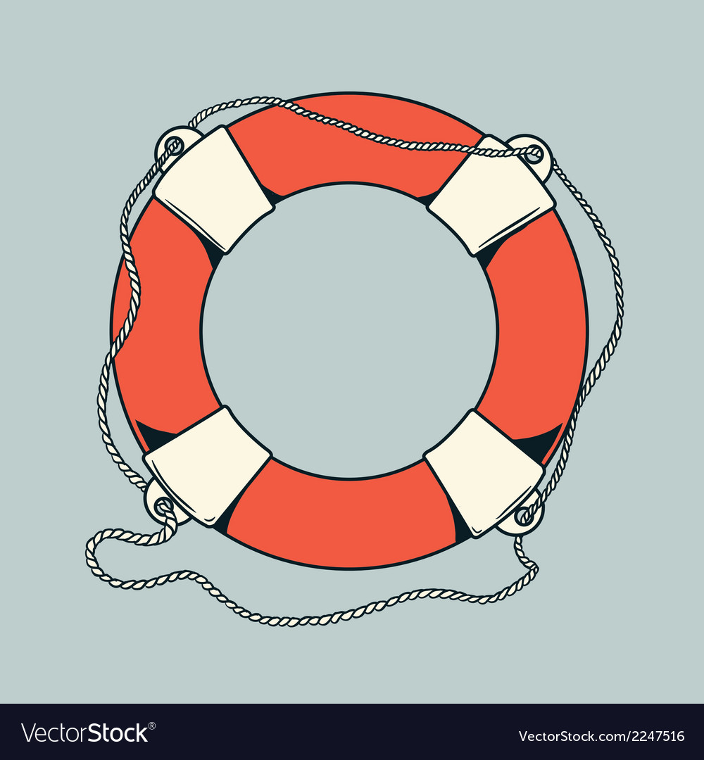 Detailed outlines colored nautical life buoy vector | Price: 1 Credit (USD $1)