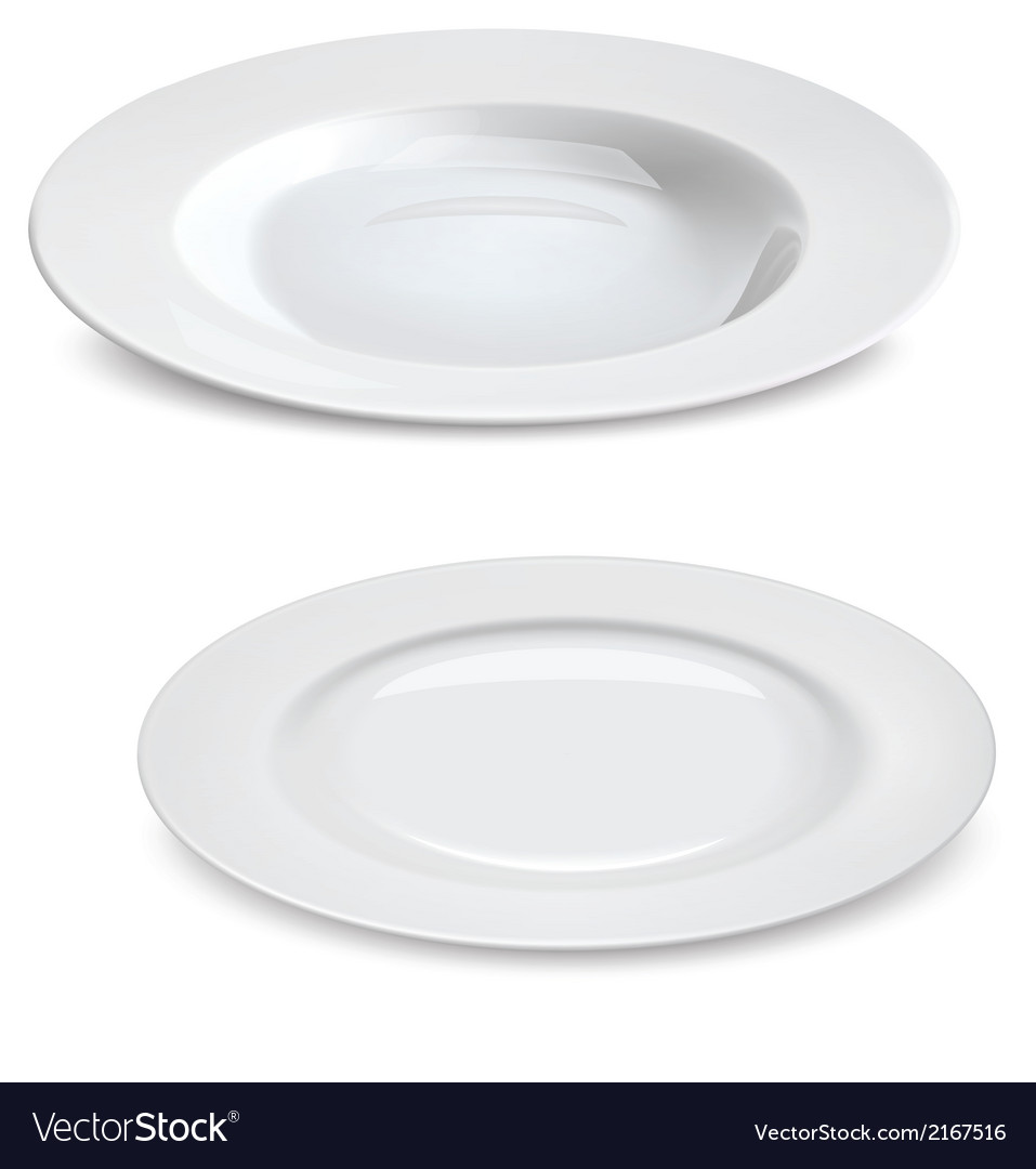 Empty plates isolated on white vector | Price: 1 Credit (USD $1)