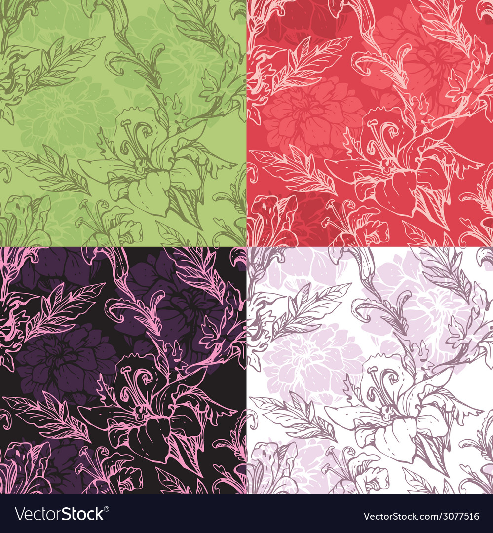 Flowers handdrawn 12 380 vector | Price: 1 Credit (USD $1)