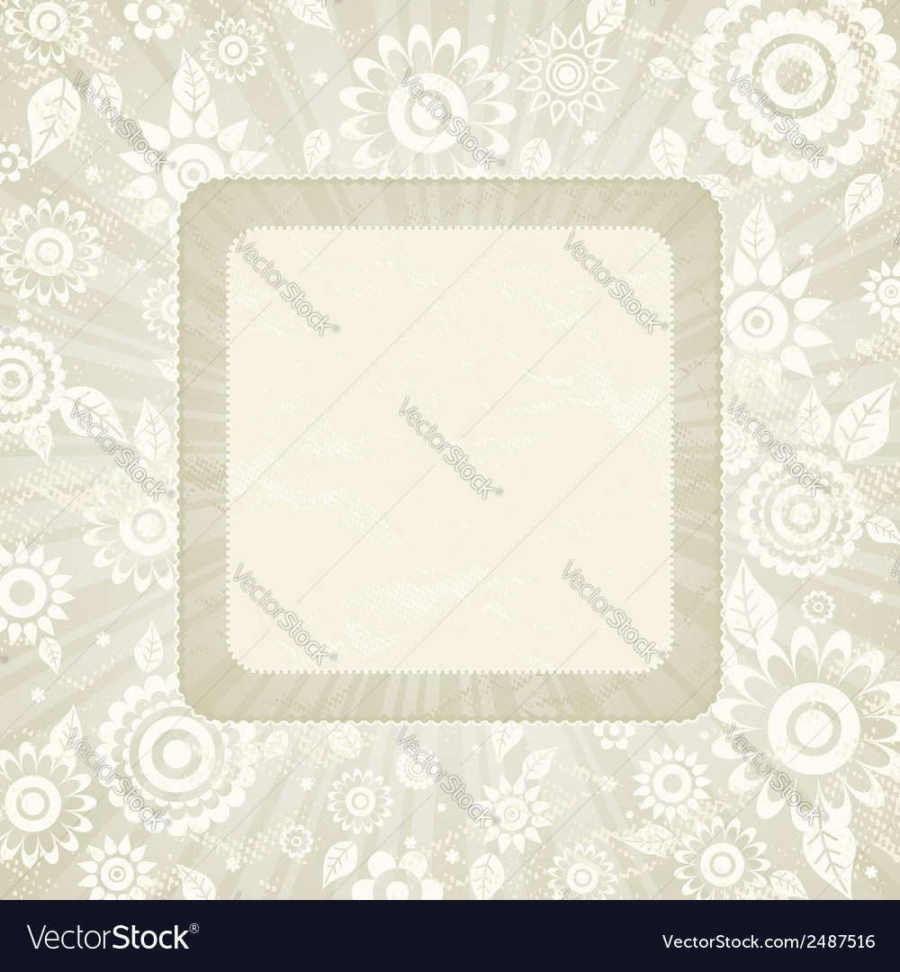 Frame of flower on beige background vector | Price: 1 Credit (USD $1)