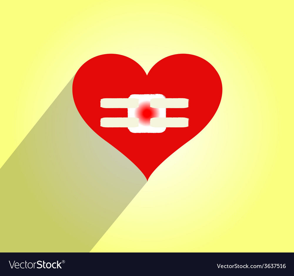 Hurt heart with bandages doodle - vector | Price: 1 Credit (USD $1)