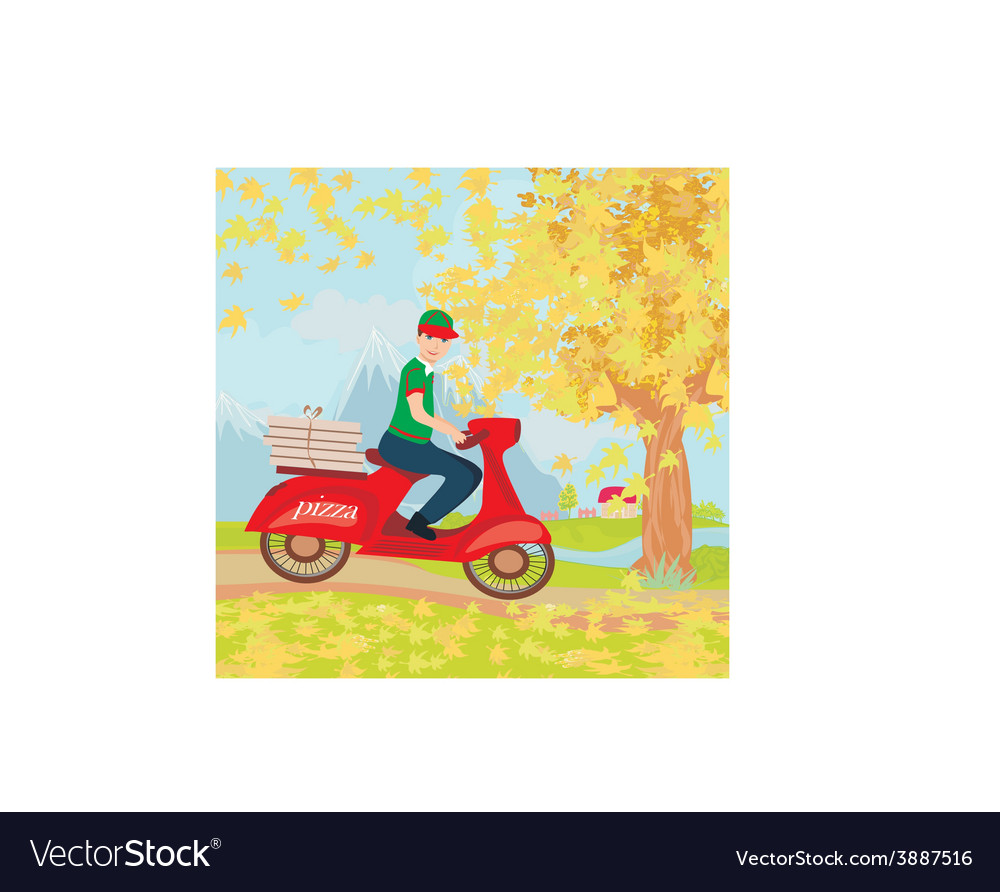 Pizza delivery man on a motorcycle vector | Price: 1 Credit (USD $1)
