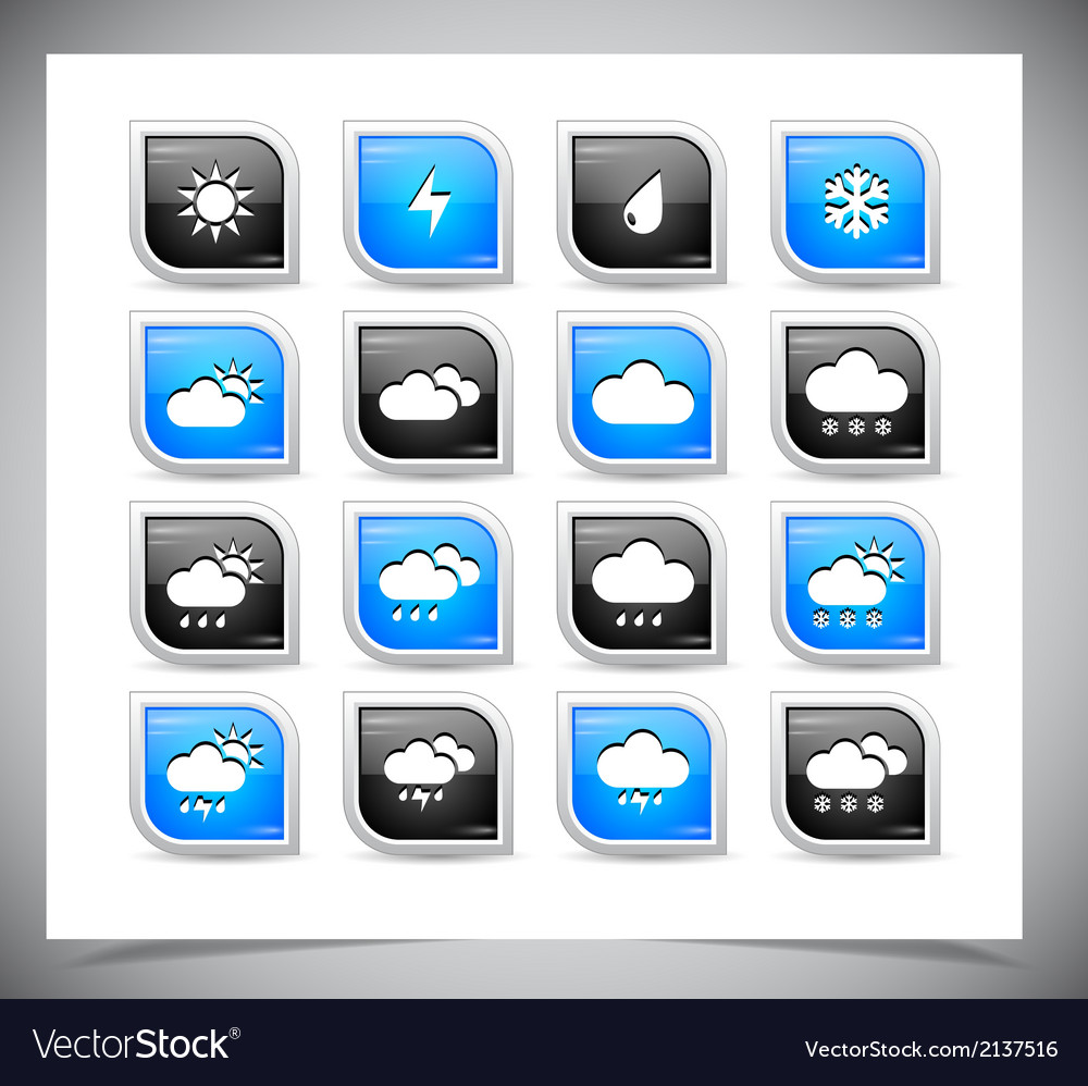 Set of color weather buttons vector | Price: 1 Credit (USD $1)