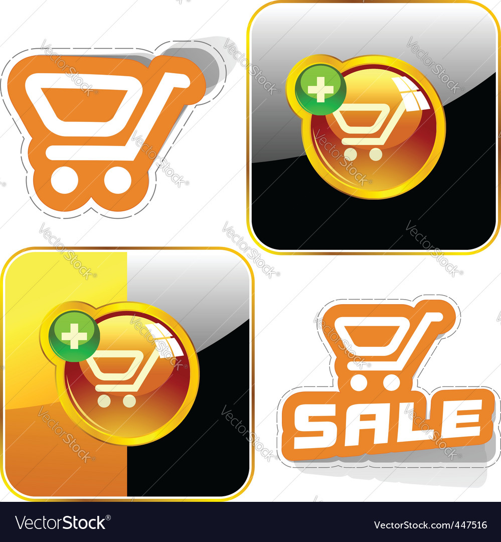 Shopping button set vector | Price: 1 Credit (USD $1)