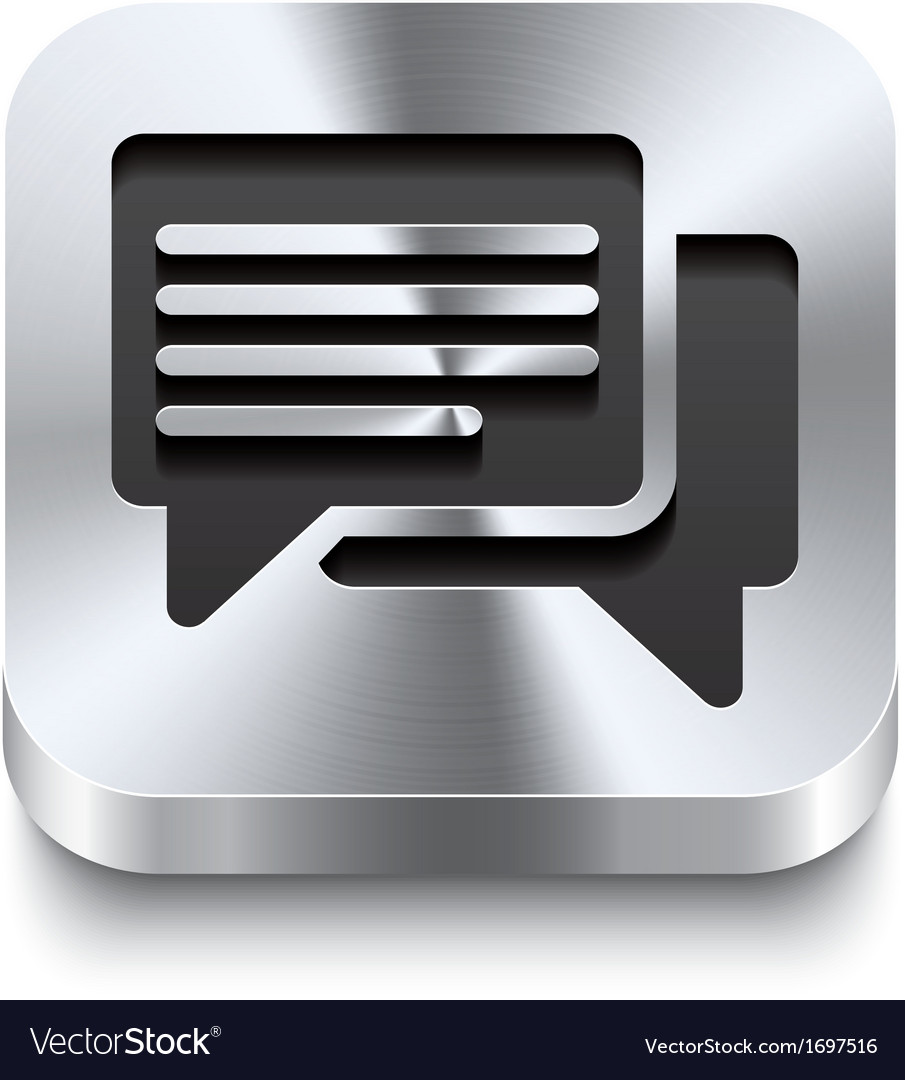 Square metal button - speech bubbles icon vector | Price: 1 Credit (USD $1)