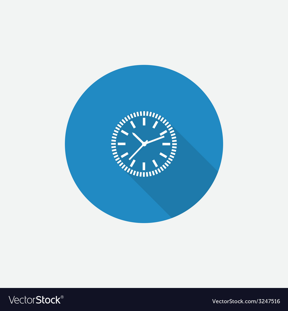 Time circle flat blue simple icon with long shadow vector | Price: 1 Credit (USD $1)