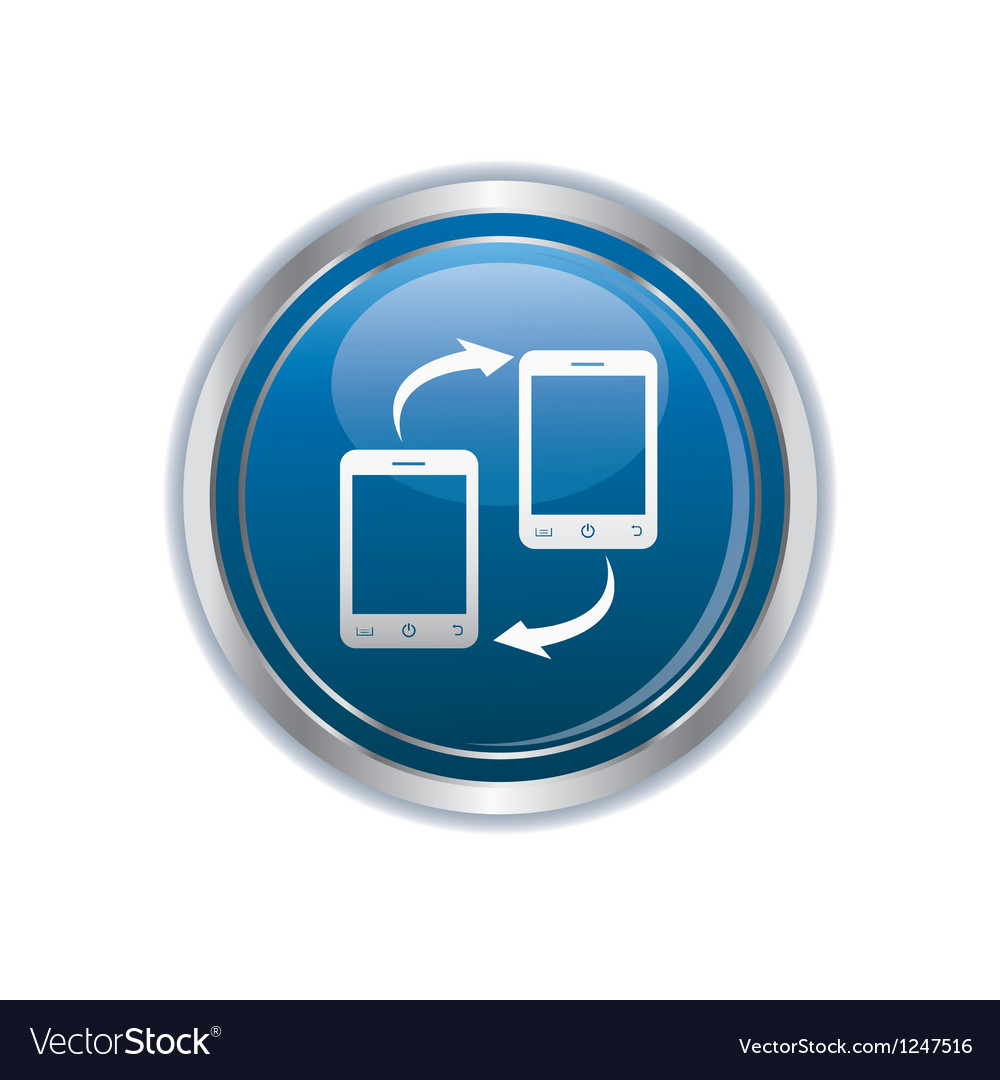 Two phones icon silver round copy vector | Price: 1 Credit (USD $1)