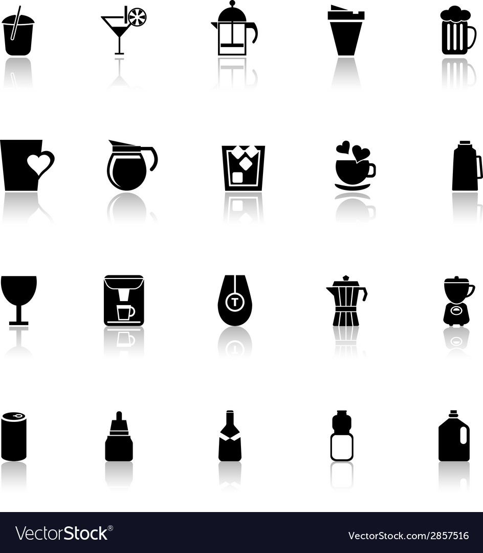 Variety drink icons with reflect on white vector | Price: 1 Credit (USD $1)