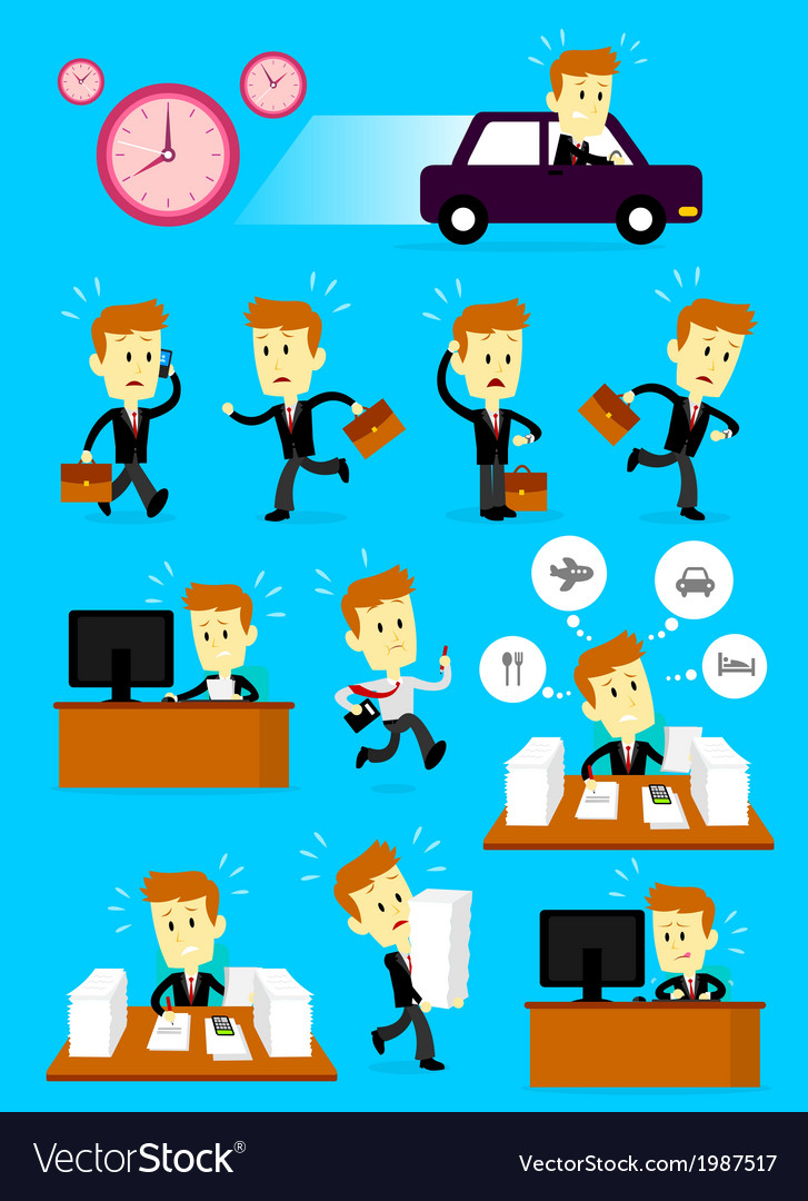 Businessman in a hurry busy day vector | Price: 1 Credit (USD $1)